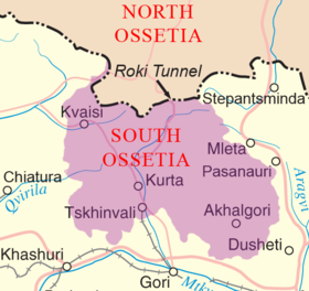 Map of South Ossetia.