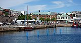 South harbor Lysekil with four blue buoys.jpg