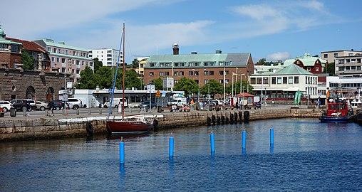 South harbor Lysekil with four blue buoys.jpg