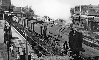 Southall railway station - Up freight passing Southall Station in 1961