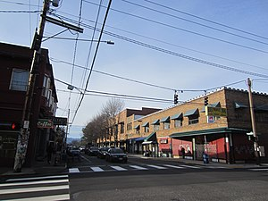 Photograph of buildings at the intersection of two streets