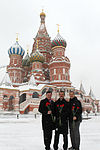 Soyuz TMA-07M crew in front of St. Basil's Cathedral in Moscow.jpg