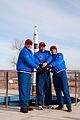 Soyuz TMA-15M crew behind the Cosmonaut Hotel.jpg