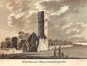 St Donat's Castle - The Watch Tower, by St Donat's Castle in 1777