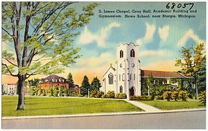 Howe Military Academy - Old postcard of the school