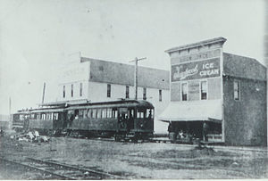 St. Johns, Portland, Oregon - The electric streetcar on Dawson Street (now North Lombard Street).