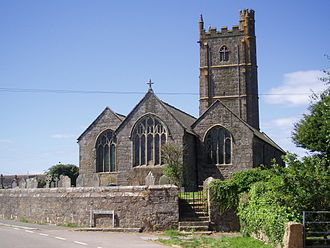 St Buryan's Church - The church from behind, showing the stained glass windows
