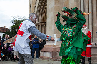 Mummers play - St. George slays the Dragon, in a 2015 Boxing Day production, by the St Albans Mummers