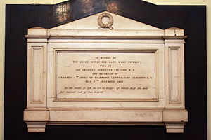 Charles Augustus FitzRoy - A memorial to Mary FitzRoy on the wall of St James' Church, Sydney