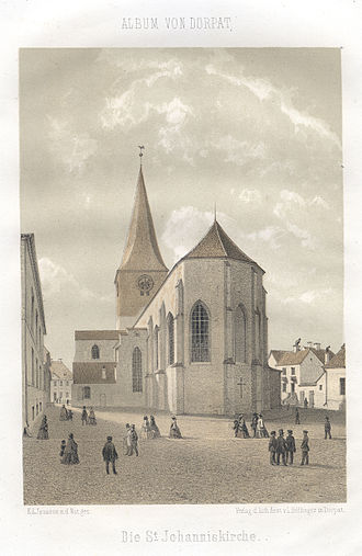 St. John's Church, Tartu - St. John's Church in 1860 by Louis Höflinger.