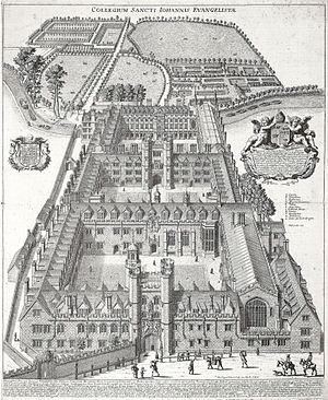 St John's College, Cambridge - Engraving of St John's College, David Loggan, c. 1685