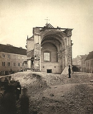 Russification - A Roman Catholic church being demolished by the order of authorities in Vilnius, 1877