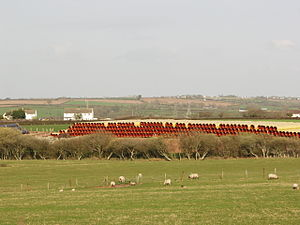 South Wales Gas Pipeline - Stacked pipes at Sentry Cross