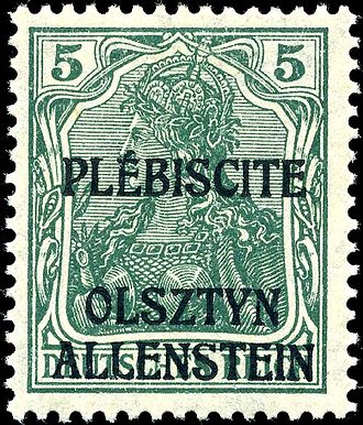 1920 East Prussian plebiscite - 5-Pfennig stamp. To advertise the plebiscite, special postage stamps were produced by overprinting German stamps and sold from 3 April. One kind of overprint read PLÉBISCITE / OLSZTYN / ALLENSTEIN, while the other read TRAITÉ / DE / VERSAILLES / ART. 94 et 95 inside an oval whose border gave the full name of the plebiscite commission.  Each overprint was applied to 14 denominations ranging from 5 Pf to 3 M.