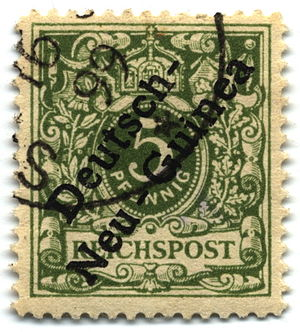 History of Lae - 5-pfennig overprint of 1897 used in 1899, probably at Stephansort