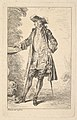 Standing man with his right hand resting on a basin, shown in three-quarters view with his head turned toward the left, from the series 'Figures of fashion' (Figures de modes) MET DP829188.jpg