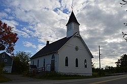 State Line Methodist Church, ubicada en Pennsylvania, vista desde Nueva York