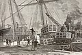 Statue of Liberty being loaded onto the Isere ship in Rouen, France in 1885.jpg