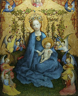 Catholic Mariology - The Blessed Virgin Mary is depicted in a rose-garden with angels playing music. Roses are a symbol of Mary.