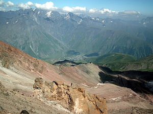 Stepantsminda - Stepantsminda from MKinvartsveri (Kazbek) slope.