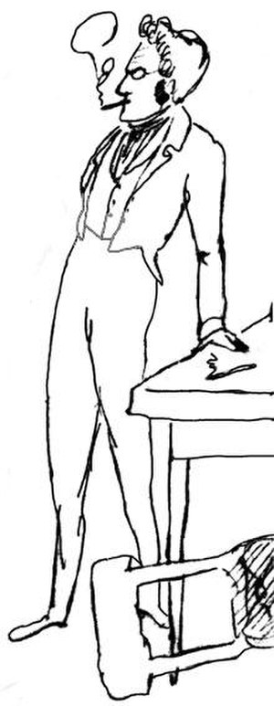 "Max Stirner - Caricature of Max Stirner taken from a sketch by Friedrich Engels (1820–1895) of the meetings of ""Die Freien""."