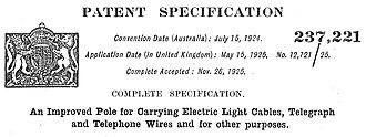 Stobie pole - Original Patent Application