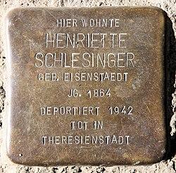 Photo of Henriette Schlesinger brass plaque