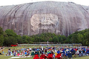 Stone Mountain - The mountain, rock relief, and train