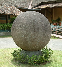 Stone sphere created by the Diquís culture in the courtyard of the National Museum of Costa Rica. The sphere is the icon of the country's cultural identity.