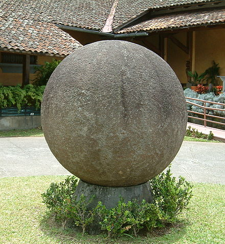 Stone sphere created by the Diquis culture in the courtyard of the National Museum of Costa Rica. The sphere is the icon of the country's cultural identity. Stone sphere.jpg