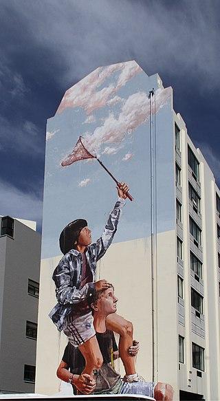ダニーデンのサザンクロスホテルの壁の壁画