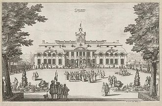 Karlberg Palace - Northern façade in the 1690s according to Suecia Antiqua et Hordierna.