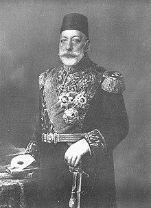 Sultán Muhammed Chan V., Kaiser der Osmanen 1915 C. Pietzner.jpg