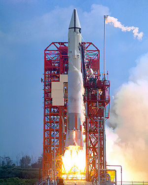Surveyor program - Launch of the Atlas-Centaur AC-10 rocket carrying the Surveyor 1 spacecraft, May 30, 1966