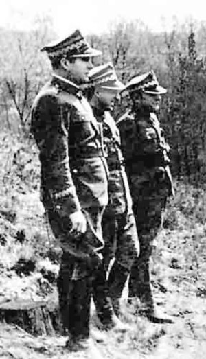 Polish Armed Forces in the East - Karol Świerczewski (front). The two other officers are Marian Spychalski and Michał Rola-Żymierski.