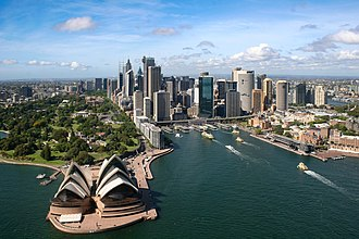 Economy of Oceania - The skyline of the Sydney central business district in Australia. Sydney is the most populous city in Oceania and is one of Oceania's only two Alpha world cities.
