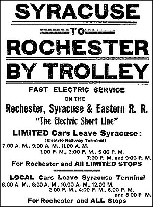 "Rochester, Syracuse and Eastern Rapid Railroad - Rochester, Syracuse and Eastern Railroad - ""Syracuse to Rochester by trolley"" - Syracuse Herald, December 27, 1909"