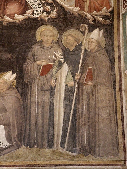 Taddeo Gaddi, Lignum vitae, particolare con sant'Antonio di Padova, san Domenico e san Ludovico di Tolosa, Santa Croce, Firenze