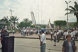 A ceremony taking place in the central square of Tarapoto