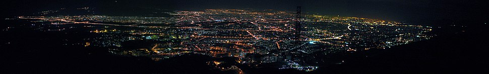 A panoramic view of Tehran at night