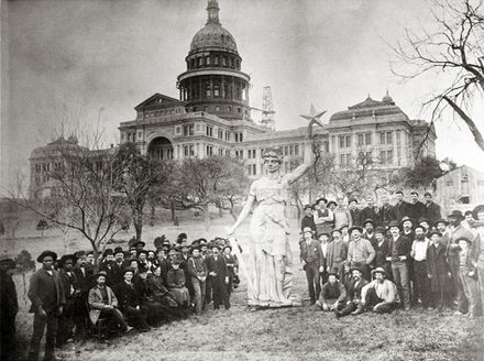 Statue of the Goddess of Liberty on the Texas State Capitol grounds prior to installation on top of the rotunda Texas capitol goddess 1888.jpg