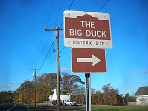 Big Duck - Signage on NY 24 before the Duck