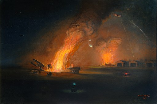 The Bombing of Bissheghem Aerodrome- the night of 20th October 1917 Art.IWMART3993