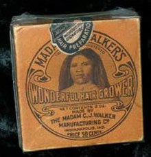 A container of Madame C.J. Walker's Wonderful Hair Grower is held in the permanent collection of The Children's Museum of Indianapolis.