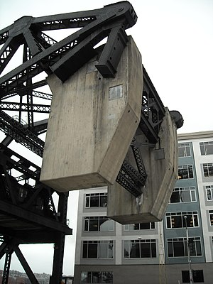 Lefty O'Doul Bridge - Concrete counterweights for lifting the bridge.