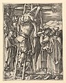 The Descent from the Cross; Christ being taken from the cross, St John supports weight with cloth rope, after Dürer MET DP820329.jpg