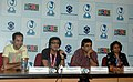 """The Director of the Hindi film """"OYE LICKY, LUCKY OYE"""", Mr. Dibakar Banerjee, the Actors Mr. Paresh Rawal, Mr. Abhay Deol and the Director (M&C), PIB, Ms. Prabhavati Akashi at a press conference.jpg"""