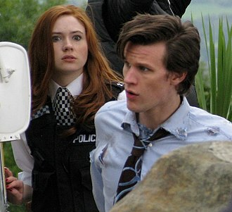 Karen Gillan - Gillan with Matt Smith, filming her first Doctor Who episode as Amy Pond
