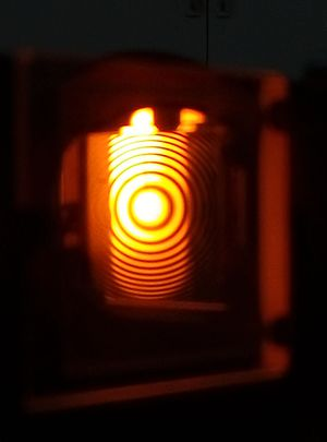 Michelson interferometer - This photo shows the fringe pattern formed by the Michelson interferometer,using monochromatic light (sodium D lines).
