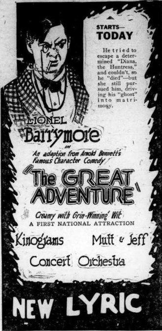 The Great Adventure (1921 film) - Newspaper ad